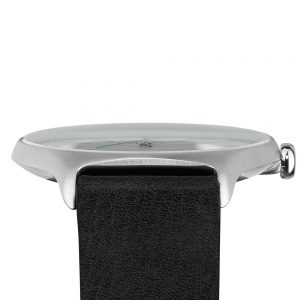 05 - slim made one 02 - thin wrist watch in silver with black leather band - bottom